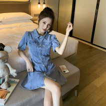 Dress Summer 2020 Denim blue S,M,L,XL,2XL Short skirt singleton  Short sleeve commute Polo collar High waist Solid color Single breasted A-line skirt puff sleeve 18-24 years old Type A Korean version Button 71% (inclusive) - 80% (inclusive) Denim other
