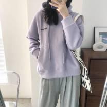 Sweater / sweater Autumn 2020 Light gray, black, light purple, blue, pink Average size Long sleeves routine Socket singleton  Plush Hood easy commute routine letter 51% (inclusive) - 70% (inclusive) Korean version cotton