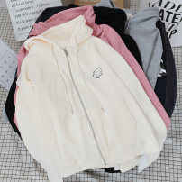 Sweater / sweater Spring 2021 Apricot, pink, grey, black M, L Long sleeves routine Socket singleton  routine Hood easy routine letter 18-24 years old 51% (inclusive) - 70% (inclusive) cotton printing cotton Cotton liner zipper