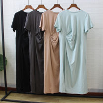 Dress Summer 2020 Average size longuette singleton  Short sleeve commute Crew neck Loose waist Solid color Socket other routine Others Type H Other / other Simplicity 81% (inclusive) - 90% (inclusive) cotton
