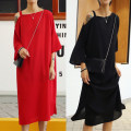 Dress Summer 2017 Red, black Mid length dress singleton  Short sleeve street Crew neck Loose waist Solid color Socket routine Others 18-24 years old Type H nothing strapless  81% (inclusive) - 90% (inclusive) Chiffon Europe and America