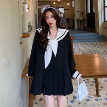 Dress Autumn 2020 Black, white XXS,XS,S,M,L,XL,2XL,3XL Short skirt singleton  Long sleeves commute Admiral High waist Solid color Socket routine Others 18-24 years old Other / other 30% and below other other