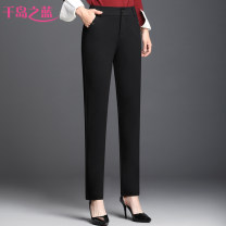 Middle aged and old women's wear Spring 2021 Black (9103-1) 27 (waist 2 feet), 28 (waist 2 feet 1), 29 (waist 2 feet 2), 30 (waist 2 feet 3), 31 (waist 2 feet 4), 32 (waist 2 feet 5), 33 (waist 2 feet 6), 34 (waist 2 feet 7) simple trousers Straight cylinder singleton  Solid color 40-49 years old