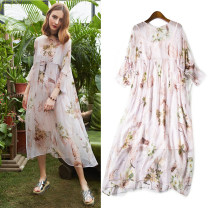 Dress Spring 2021 XS,S,M,L Mid length dress Two piece set Nine point sleeve commute Crew neck Loose waist Broken flowers Socket Big swing pagoda sleeve Others 35-39 years old T-type others printing OTHERS More than 95% Silk and satin silk