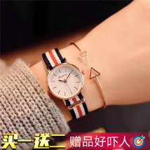 Wristwatch Ulzzang Shop warranty quartz movement  female canvas domestic 0ATM alloy Mineral reinforced glass mirror 7mm Simple canvas circular fashion Pointer type brand new Pin buckle Reprint Autumn and winter 2017 Japan 4.6cm for men and women