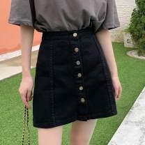 skirt Summer 2020 Short skirt commute A-line skirt High waist Solid color More than 95% cotton Type A 18-24 years old Denim Pocket, button Other / other Korean version S,M,L,XL,2XL White, black, khaki, dark blue, light blue, black (8117)