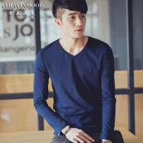 T-shirt Youth fashion routine Colwinmood / gulewoman Long sleeves V-neck Self cultivation daily autumn Cotton 95% polyurethane elastic fiber (spandex) 5% youth routine tide Autumn 2015 Solid color cotton Fashion brand Pure e-commerce (online only) 90% (inclusive) - 95% (inclusive)