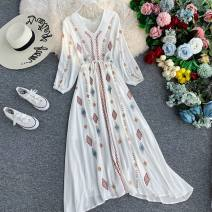 Dress Autumn of 2019 white S,M,L,XL,2XL singleton  Long sleeves commute V-neck High waist Solid color Socket Big swing bishop sleeve Others 18-24 years old Type A bow 31% (inclusive) - 50% (inclusive) other other
