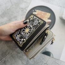 wallet Short Wallet PU KISS ME Pink Black Grey royal blue red green brand new Europe and America female Zipper buckle other 80% off Erect funds youth Large banknote holder, photo slot, change slot Embroidery polyester fiber KM24082 soft surface Spring / summer 2018 Pure e-commerce (online only)