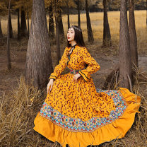 Dress Winter 2020 yellow M L XL XXL XXXL longuette singleton  Long sleeves commute middle-waisted zipper 30-34 years old The story of two ethnic style QZ0948 71% (inclusive) - 80% (inclusive) polyester fiber Polyester 75% cotton 20% polyamide 5%