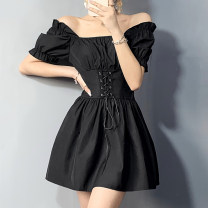 Dress Summer 2021 black S,M,L Short skirt singleton  Short sleeve commute One word collar High waist Solid color Socket A-line skirt puff sleeve 18-24 years old Type A fold FGMLD01806 91% (inclusive) - 95% (inclusive) polyester fiber
