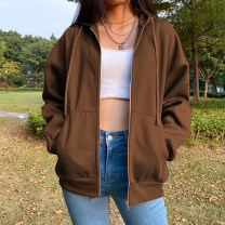 Sweater / sweater Winter 2020 brown S,M,L Long sleeves routine Cardigan Plush Hood easy street routine Solid color 18-24 years old 71% (inclusive) - 80% (inclusive) EUC6370W0I Zipper, drawcord polyester fiber Cotton liner zipper Europe and America