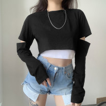 T-shirt Black, gray, white, pink S,M,L,XL Summer 2020 Long sleeves Crew neck Fake two pieces have cash less than that is registered in the accounts routine commute cotton 86% (inclusive) -95% (inclusive) 18-24 years old lady T4284W0G