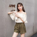 Lace / Chiffon Summer 2021 Black, blue, beige, pink S,M,L,XL elbow sleeve commute Conjoined singleton  easy Regular One word collar Lotus leaf sleeve Han Tao and Qiao Chu 301# Korean version 96% and above polyester fiber