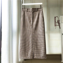 skirt Spring 2021 XS,S,M,L Check pattern Versatile High waist 30-34 years old C902 31% (inclusive) - 50% (inclusive) polyester fiber pocket