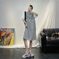 Dress Summer 2021 grey Average size Mid length dress singleton  Short sleeve commute Crew neck High waist Solid color Socket A-line skirt routine Others 18-24 years old Type H Amanitin Korean version 71% (inclusive) - 80% (inclusive) cotton