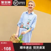 Dress October dress M L XL Europe and America Long sleeves Medium length spring Lapel