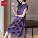 Dress Purple gray green black Average size Europe and America Sleeveless Medium length spring Crew neck Decor