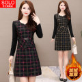 Dress Winter of 2019 L,XL,2XL,3XL,4XL,5XL longuette singleton  Long sleeves commute Crew neck middle-waisted lattice other A-line skirt routine Others 35-39 years old Type A Korean version printing 81% (inclusive) - 90% (inclusive) other polyester fiber