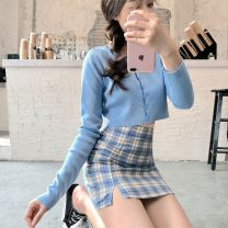 skirt Summer 2021 XXS,XS,S,M,L Blue, red, purple, white cardigan, blue cardigan Short skirt Versatile High waist skirt lattice Type A 18-24 years old cotton