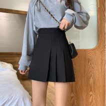 skirt Summer 2021 XXS,XS,S,M,L Gray, black Short skirt commute High waist Pleated skirt Solid color Type A 18-24 years old 81% (inclusive) - 90% (inclusive) Korean version