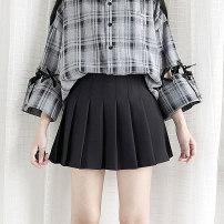 skirt Summer of 2019 Short skirt Versatile High waist A-line skirt Solid color Type A Pleated skirt black More than 95% polyester fiber