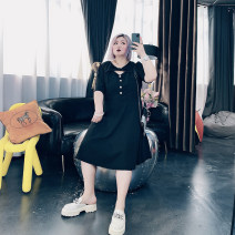 Women's large Spring 2021 black Large XL, large XXL, large XXL, large 4XL Dress singleton  commute easy moderate Conjoined Short sleeve Solid color Korean version Others, cotton Three dimensional cutting routine ST6193 25-29 years old Button Medium length other