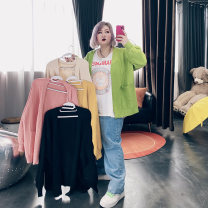 Women's large Spring 2021 Black, apricot, yellow, green, pink Large XL, large XXL Knitwear / cardigan singleton  commute easy moderate Cardigan Long sleeves Solid color Korean version V-neck routine Cotton, others routine LT2999 25-29 years old pocket