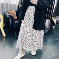 Women's large Spring 2021 Large XL, large XXL, large XXL, large 4XL skirt singleton  commute easy moderate Broken flowers Korean version Others, cotton 25-29 years old longuette other