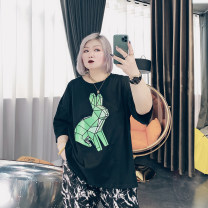 Women's large Summer 2021 Black, white Large XL, large XXL, large XXL, large 4XL singleton  commute easy moderate Socket Short sleeve other Korean version Crew neck routine Cotton, others printing and dyeing routine ST6222 25-29 years old