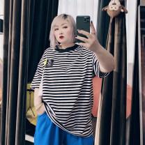 Women's large Spring 2021, summer 2021 Black stripe Big 4XL, big 5XL, big 6xl T-shirt singleton  commute easy moderate Socket Short sleeve stripe Korean version Crew neck routine cotton routine 25-29 years old