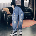 Women's large Spring 2021 Denim blue Large XL, large XXL, large XXL, large 4XL, large 5XL Jeans singleton  commute easy moderate Solid color Korean version Cotton, others 25-29 years old pocket trousers
