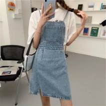 skirt Summer 2020 S,M,L blue Short skirt Versatile High waist Strapless skirt Solid color Type A 18-24 years old XJ4868 30% and below other other pocket