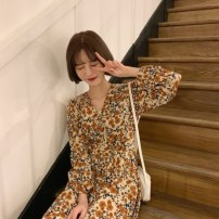 Dress Spring 2021 Picture color - T6L Average size Middle-skirt singleton  Long sleeves commute V-neck Broken flowers Socket A-line skirt routine 18-24 years old Type A Korean version 722AE3070 51% (inclusive) - 70% (inclusive) Chiffon polyester fiber