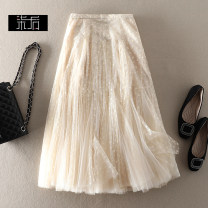 skirt Spring 2021 S,M,L,XL Black, white, camel, apricot, fruit green Mid length dress Sweet High waist Fluffy skirt Solid color 0X214 More than 95% polyester fiber Pleated, zipper princess