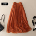 skirt Winter of 2018 S,M,L,XL Black, purple, apricot, caramel, grayish blue Middle-skirt street Natural waist A-line skirt Solid color Type A X7066