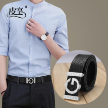 Belt / belt / chain top layer leather White gold buckle Blue Gold Buckle Black Silver Buckle white silver buckle Blue Silver Buckle Black Gold Buckle male belt leisure time Single loop Youth and middle age Smooth button Glossy surface Patent leather 3.8cm alloy alone Pixiang LU721CC