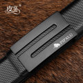 Belt / belt / chain Double skin leather black male belt leisure time Single loop Youth and middle age Smooth button Glossy surface Glossy surface 3.3cm alloy alone Pixiang LU446CC 105cm110cm115cm120cm125cm Autumn and winter 2018