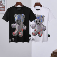 T-shirt Fashion City White, black routine 170(M),175(L),180(XL),185(XXL),190(3XL) Piplan Short sleeve Crew neck standard Other leisure summer routine tide 2021 Cartoon animation Hot drilling cotton Creative interest More than 95%