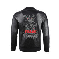 leather clothing Piplan Youth fashion black M,L,XL,2XL,3XL have cash less than that is registered in the accounts Imitation leather clothes stand collar zipper winter leisure time PU tide Rib hem Zipper bag Embroidery No iron treatment human skeleton