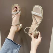 Sandals 35,36,37,38,39,40 Black, off white PU Other / other Barefoot Thick heel Middle heel (3-5cm) Summer 2021 Flat buckle Korean version Solid color Adhesive shoes Youth (18-40 years old) rubber banquet Back space Water drill, thick heel Low Gang Lateral space PU PU D2155411 Fashion sandals Shaving