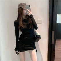 Dress Autumn 2020 White, black Average size Short skirt singleton  Long sleeves commute Crew neck Solid color Socket One pace skirt Others 18-24 years old Type A Pleating D1016 51% (inclusive) - 70% (inclusive) other