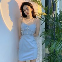 Dress Winter 2020 Enchanting black, pure blue S,M,L Short skirt singleton  Sleeveless Sweet One word collar Solid color A-line skirt camisole 18-24 years old Type A D1212