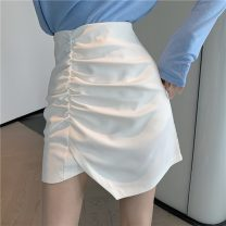 skirt Summer 2021 S,M,L White, black Short skirt Versatile High waist A-line skirt Solid color Type A 18-24 years old D0321 30% and below