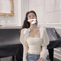shirt Apricot, black S,M,L Spring 2020 other 96% and above Long sleeves commute Regular square neck Socket routine Solid color 18-24 years old Self cultivation Other / other Korean version eight point two eight