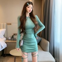 Dress Autumn 2020 Purple, green S,M,L Short skirt singleton  Long sleeves commute Crew neck High waist Solid color Socket One pace skirt routine 18-24 years old Type A Korean version Fold, tuck