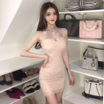 Dress Spring 2020 Apricot, black S, M Short skirt singleton  Sleeveless commute V-neck High waist Solid color Socket A-line skirt routine Hanging neck style 18-24 years old Type A Other / other Korean version Open back, lace Three point eight