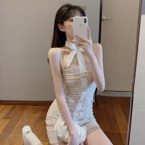 Dress Spring 2021 Graph color S,M,L Short skirt singleton  Sleeveless commute One word collar High waist Solid color A-line skirt camisole 18-24 years old Type A Korean version