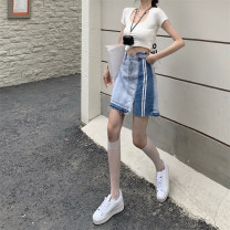 skirt Summer 2021 S,M,L wathet Short skirt commute High waist Denim skirt other Type A 18-24 years old b0324 30% and below Denim cotton Korean version