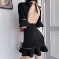 Dress Summer 2021 black S,M,L Short skirt singleton  elbow sleeve commute V-neck High waist Solid color Socket A-line skirt pagoda sleeve 18-24 years old Type A literature Ruffles, hollowed out, open back C0411